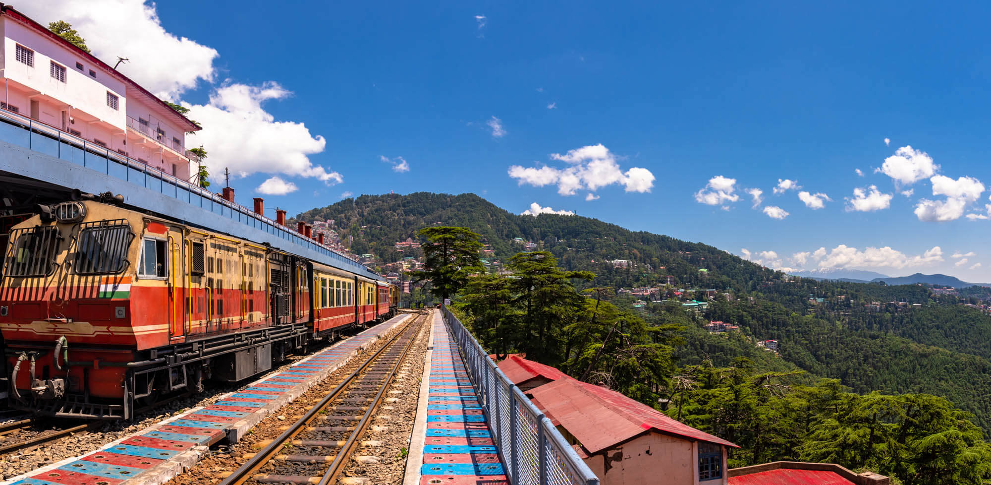 The colourful toy train in Shimla.