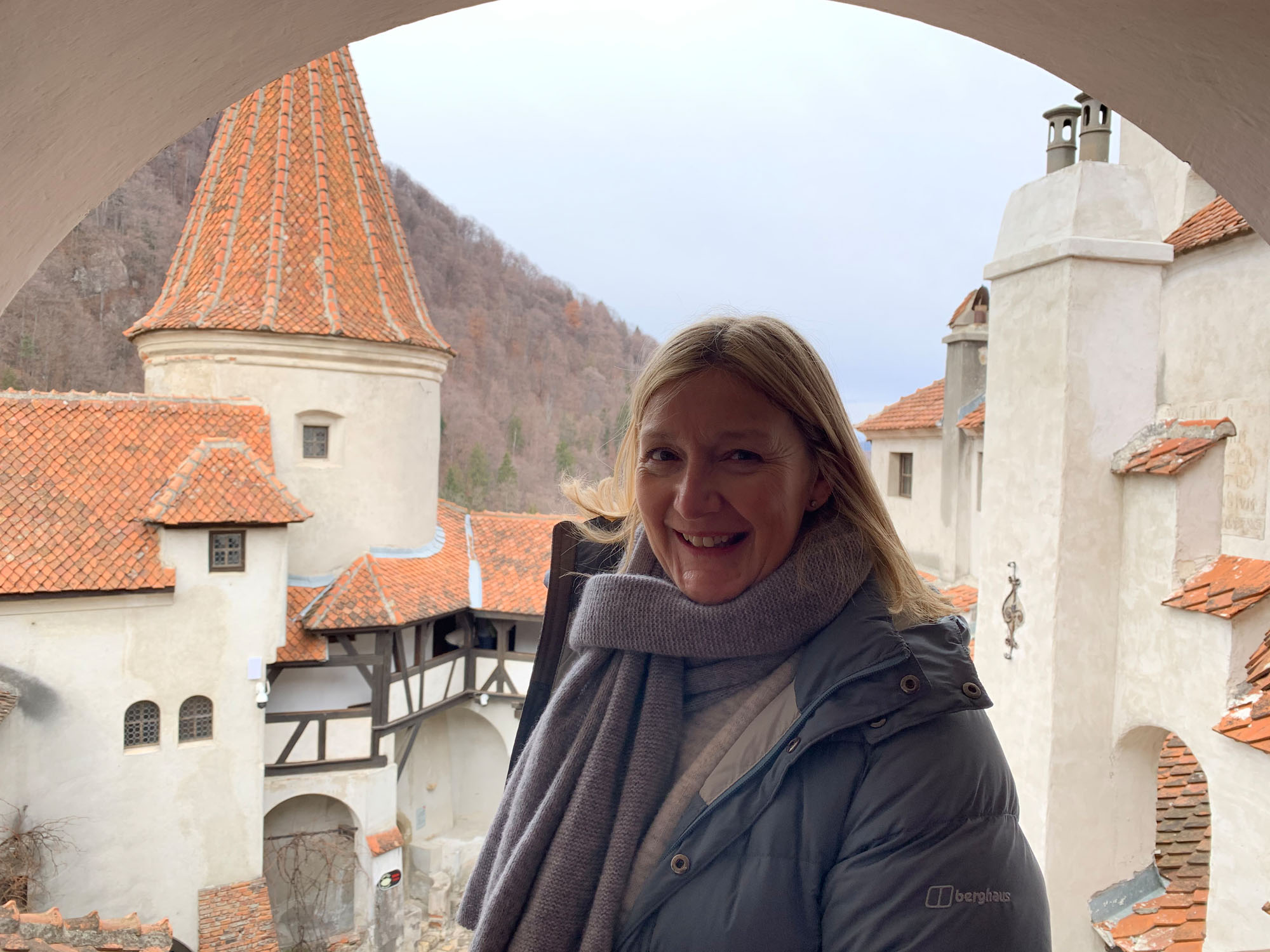 Philippa explores the mighty Bran Castle.