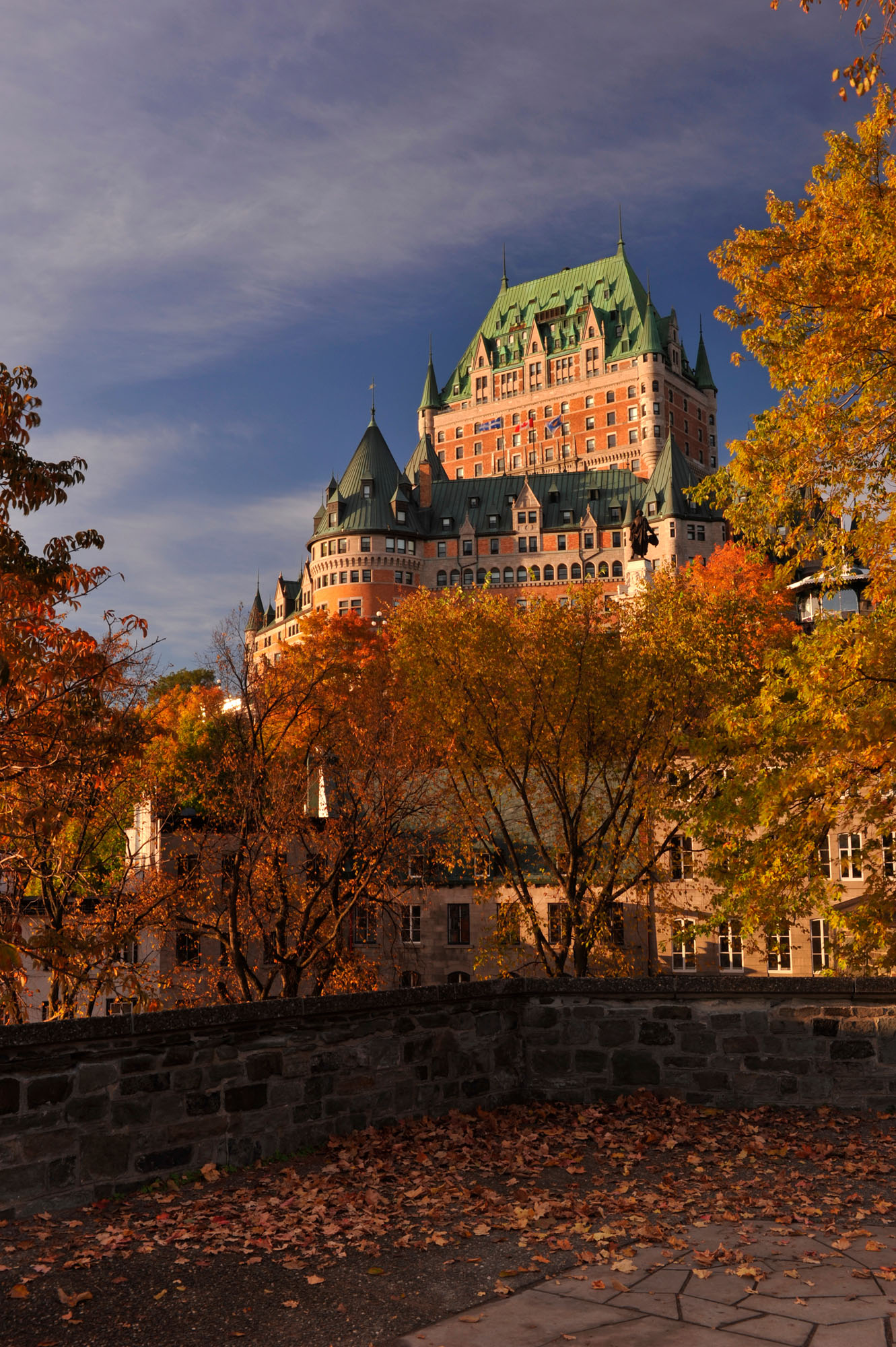 The striking Château Frontenac hotel in Quebec, during the fall.