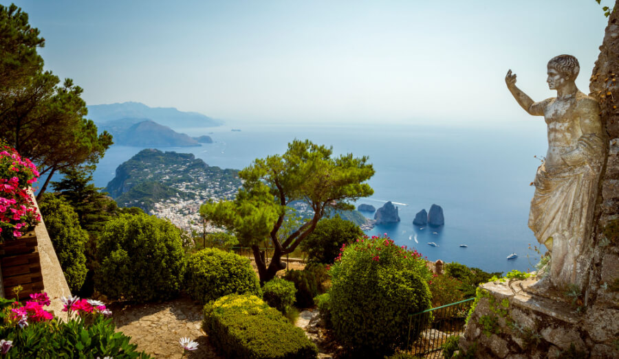 anorama of Capri island from Mount Solaro