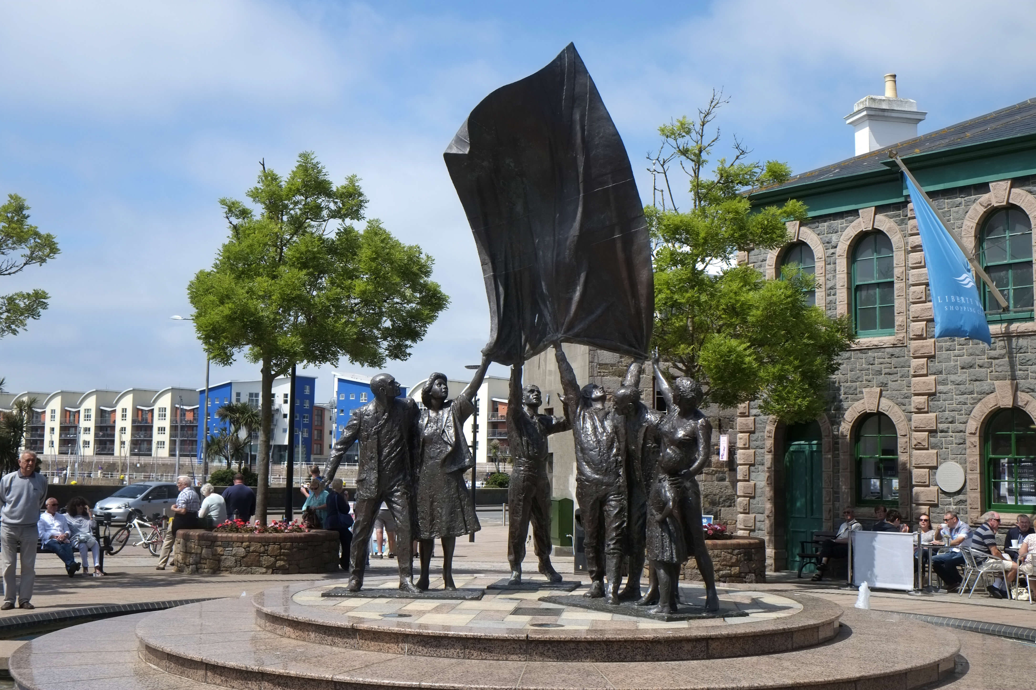 Sculpture in Liberation Square celebrating the end of the Nazi occupation of Jersey in 1945