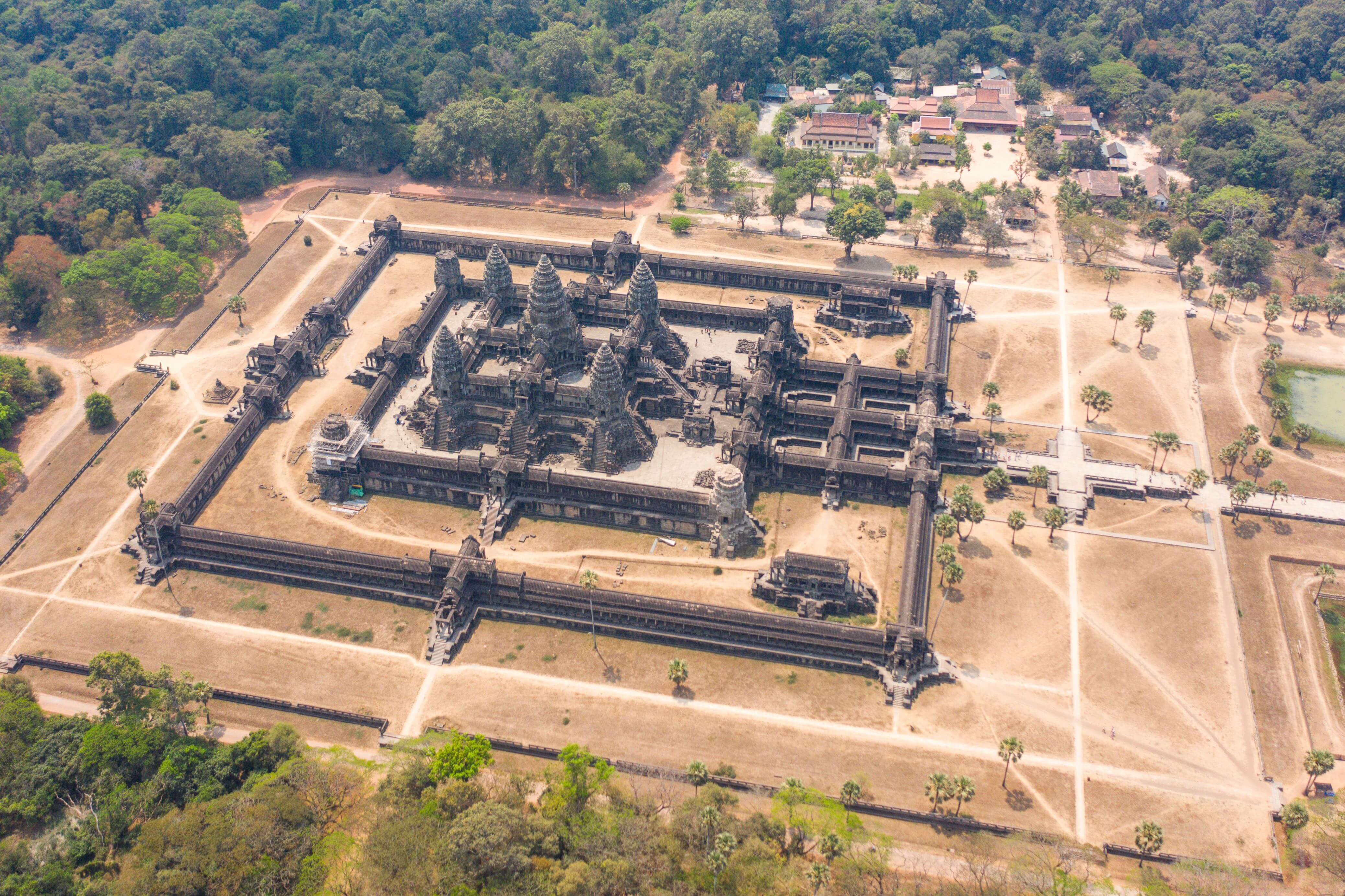 Angkor Wat in Cambodia is the world's largest religious monument by land area.