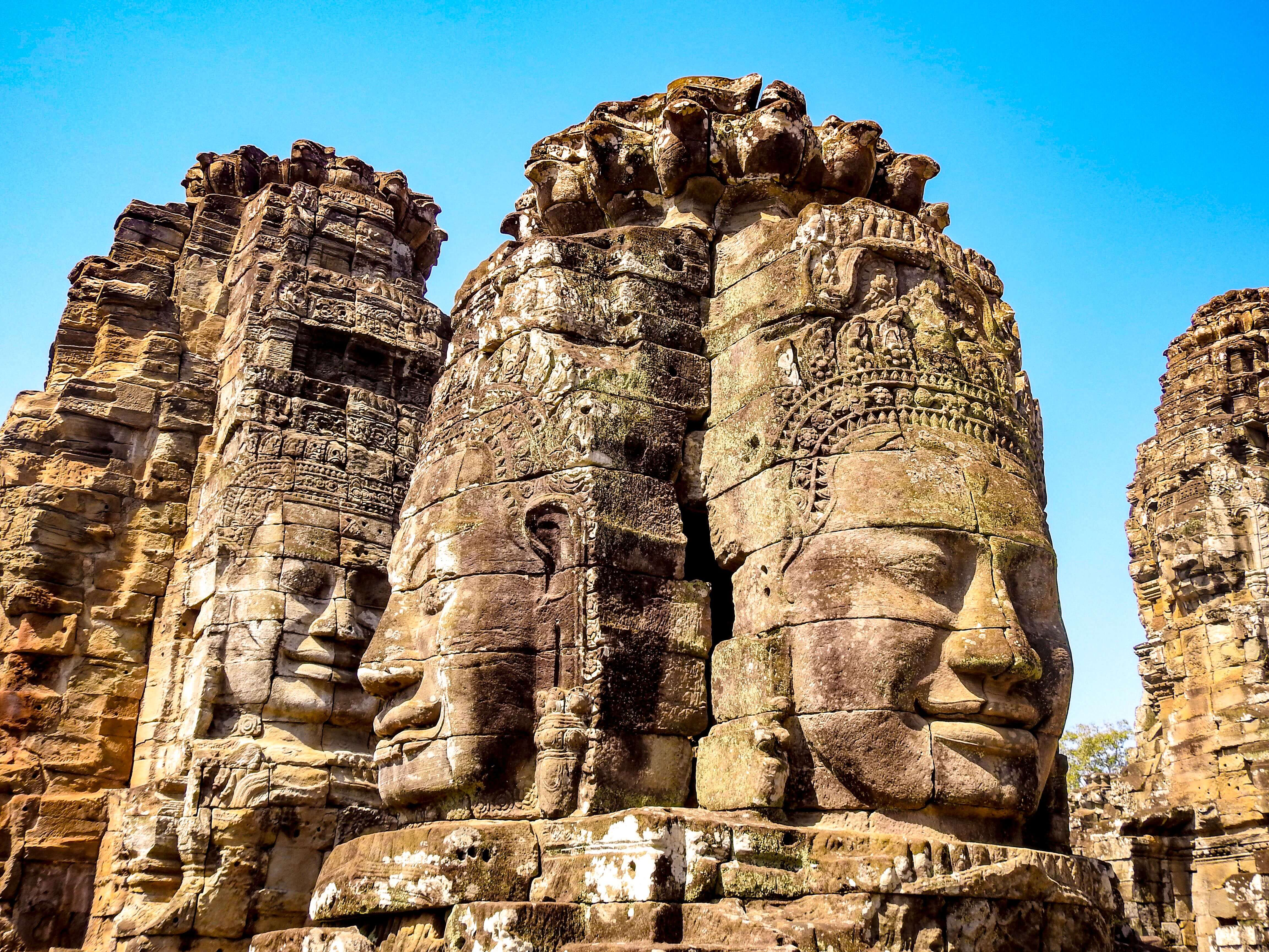 The smiling, zen-like faces of the Bayon in Angkor, Cambodia.