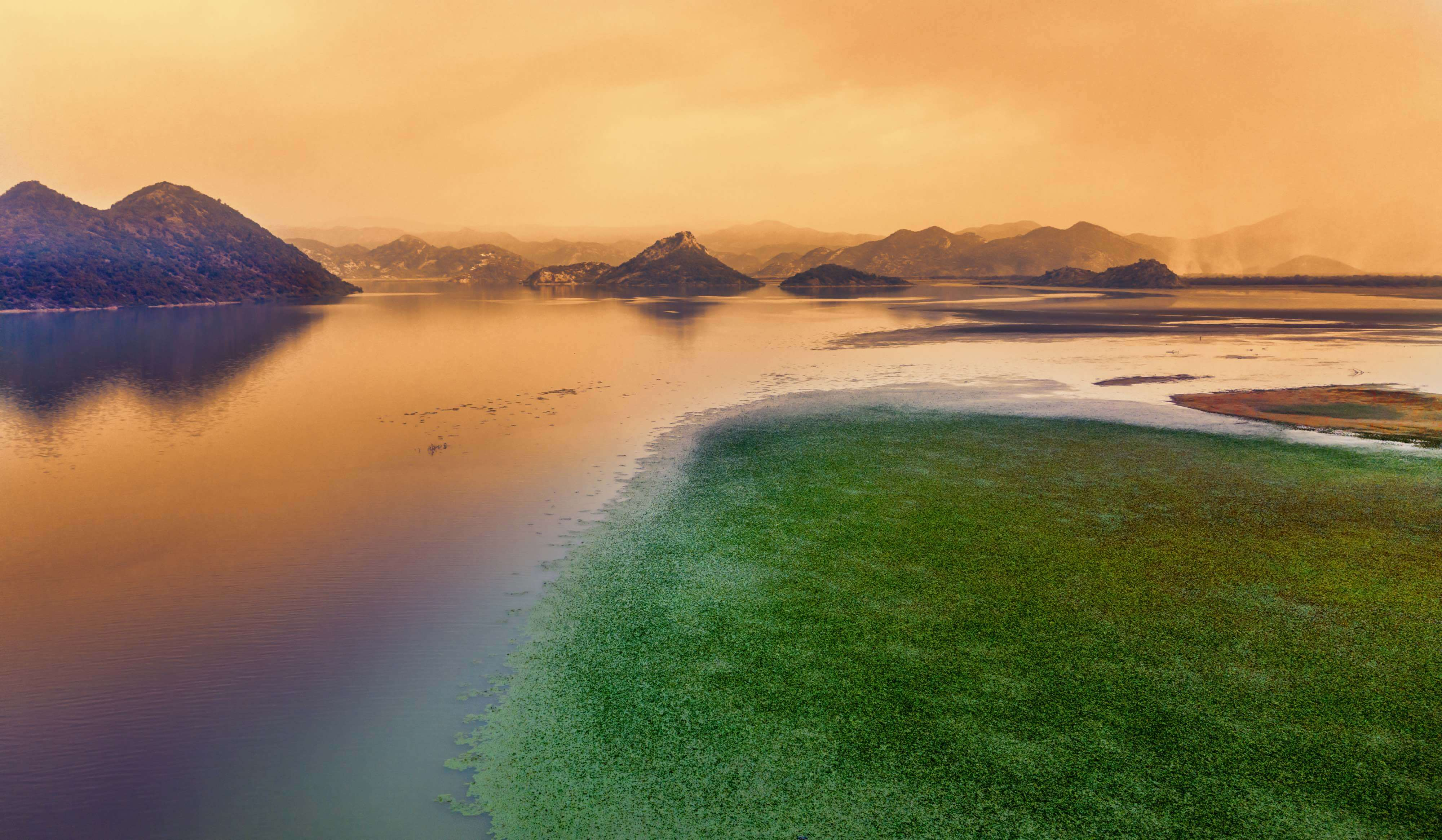 Sunset at the prime bride-watching destination of Skadar Lake.