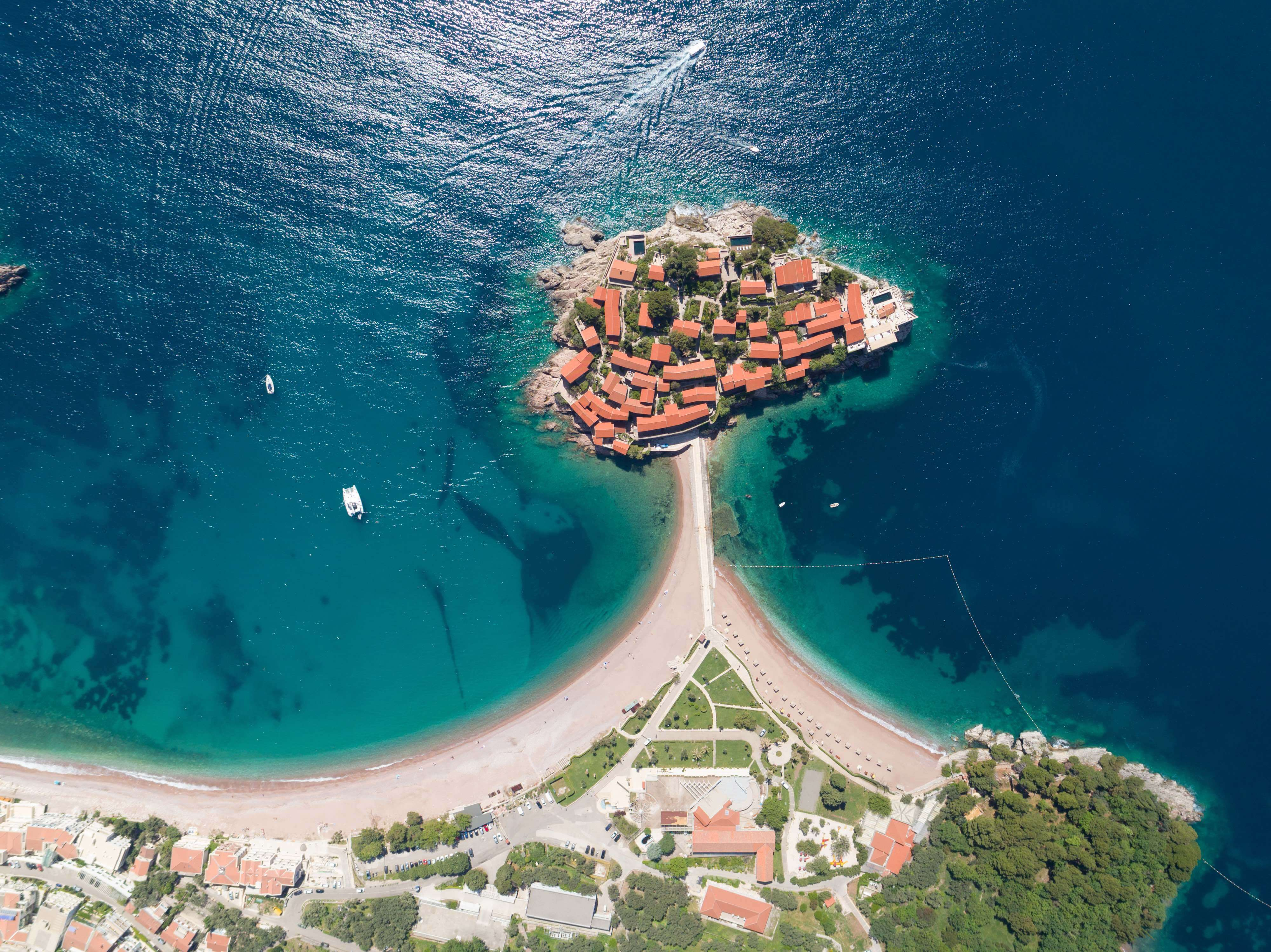 The Sveti Stefan private island in Budva, Montenegro.