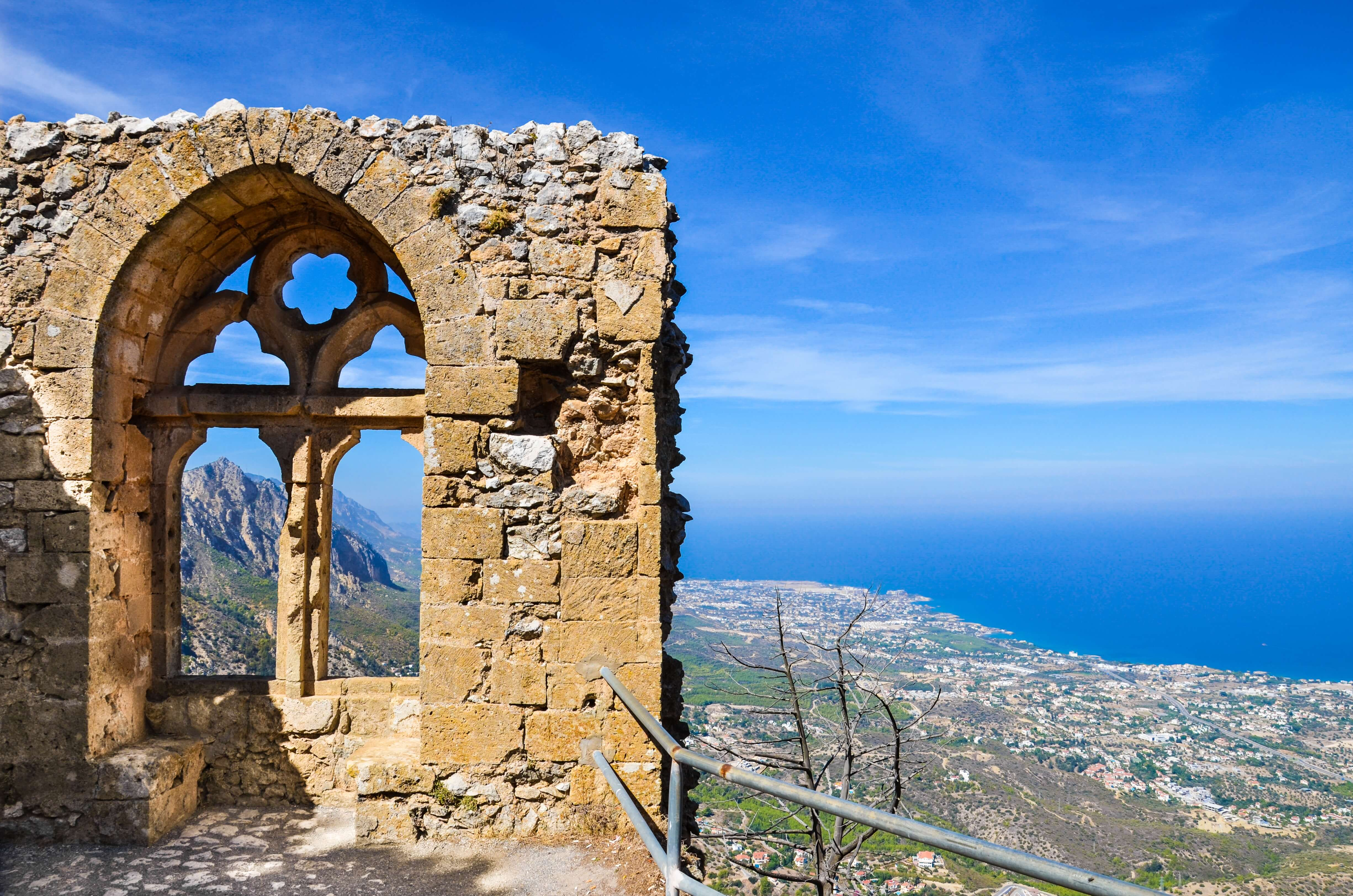 A view from the medieval ruins of the St. Hilarion Castle.
