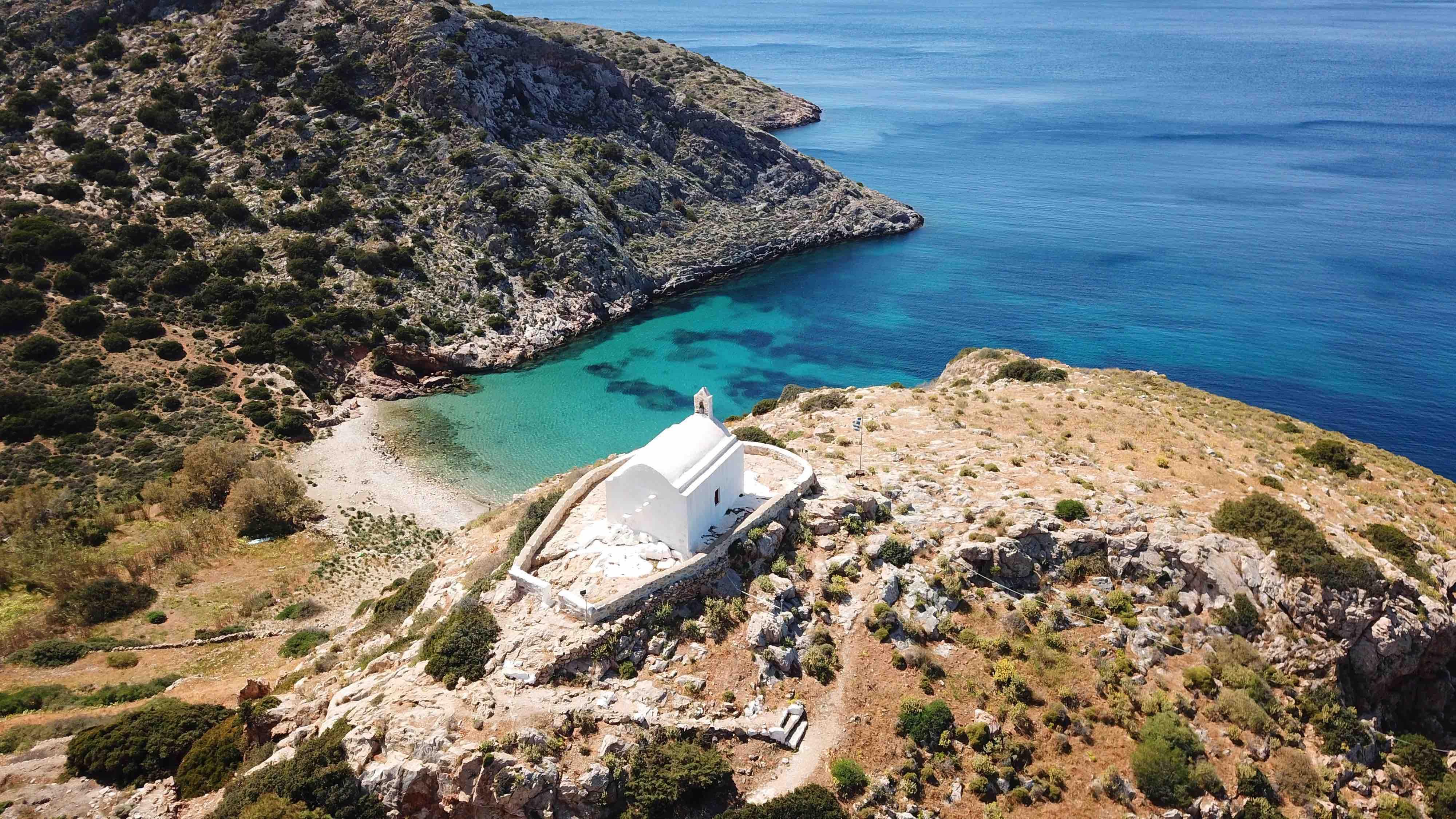 The church of Agios Pakos on Galissas beach, Syros island.