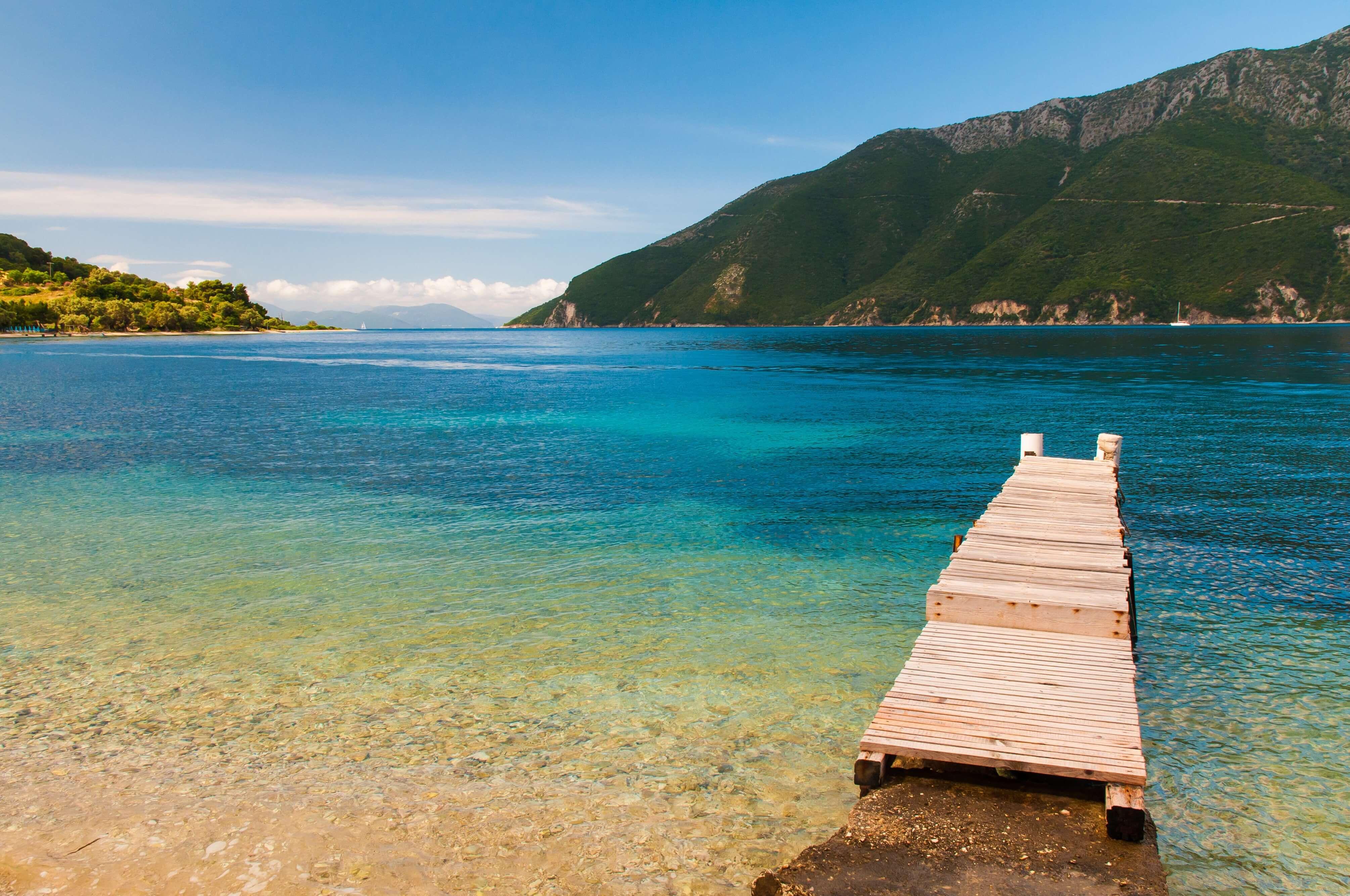 Take a refreshing dip along the coastline of Meganisi island in Greece.