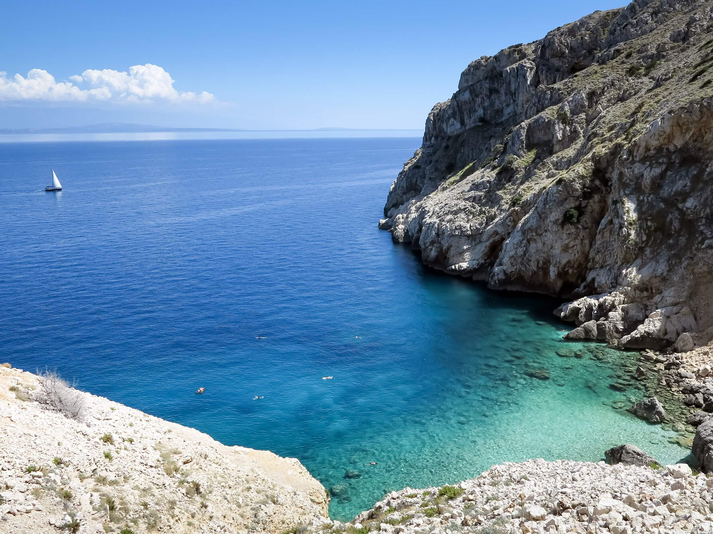The unforgettable Mali Bok beach on Cres Island, Croatia.