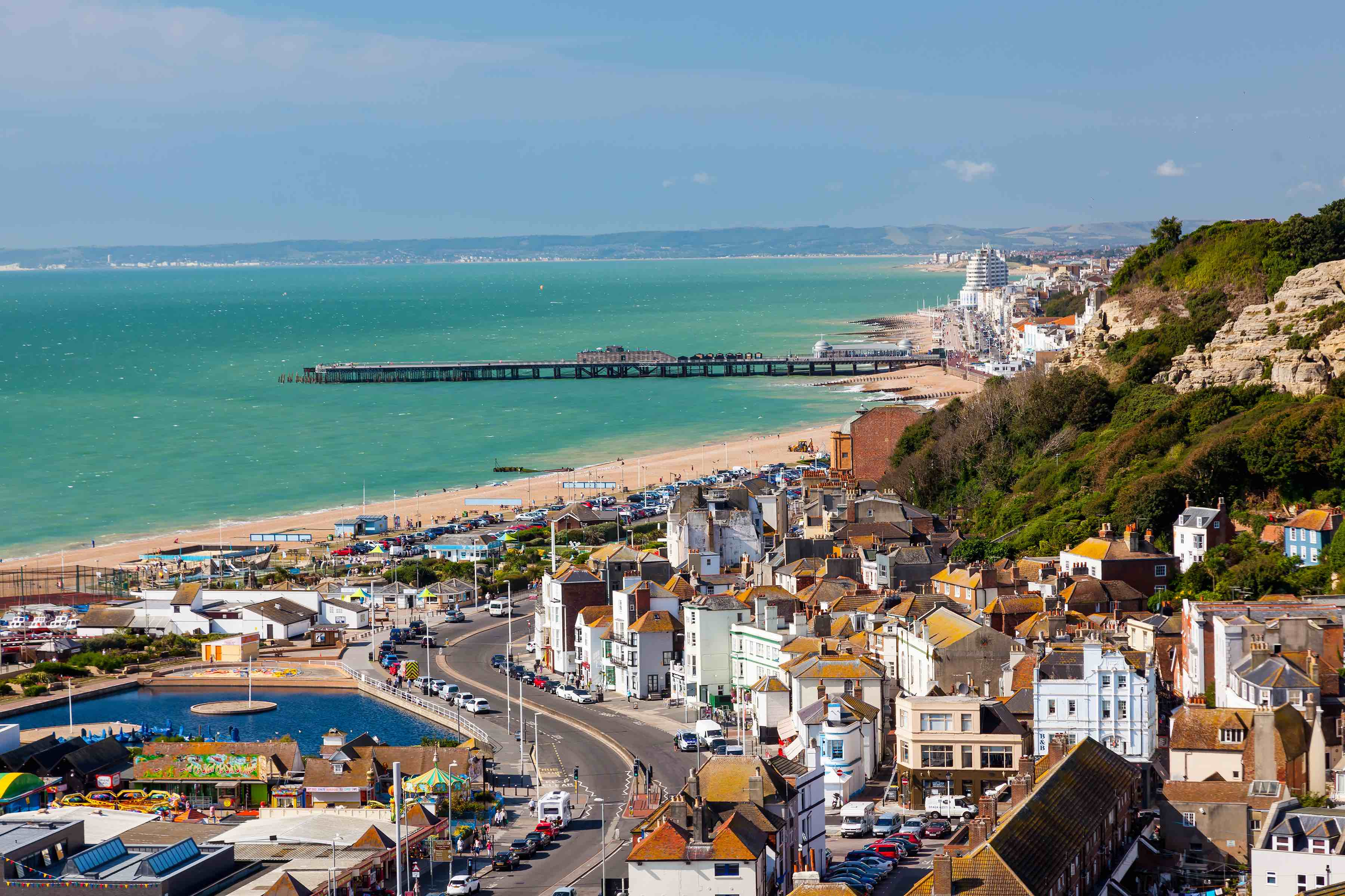 A picturesque view over the town of Hastings in East Sussex.