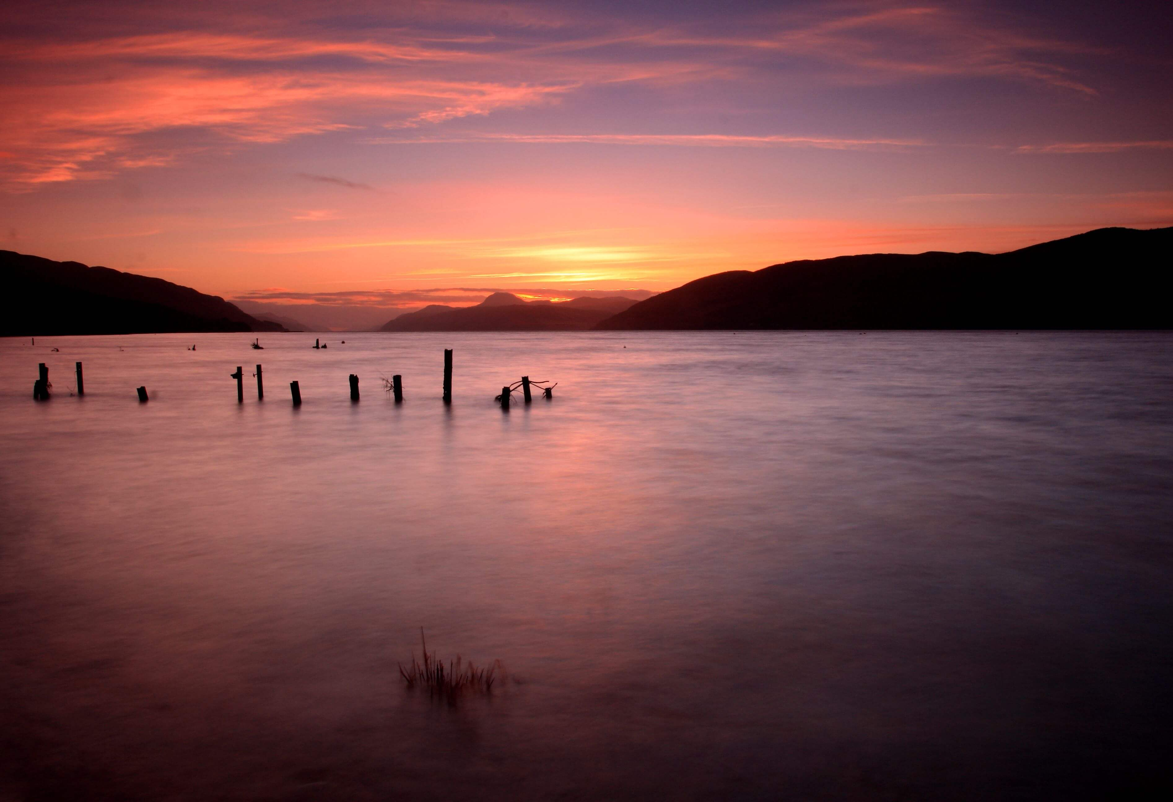 A dazzling sunset at the mysterious Loch Ness.