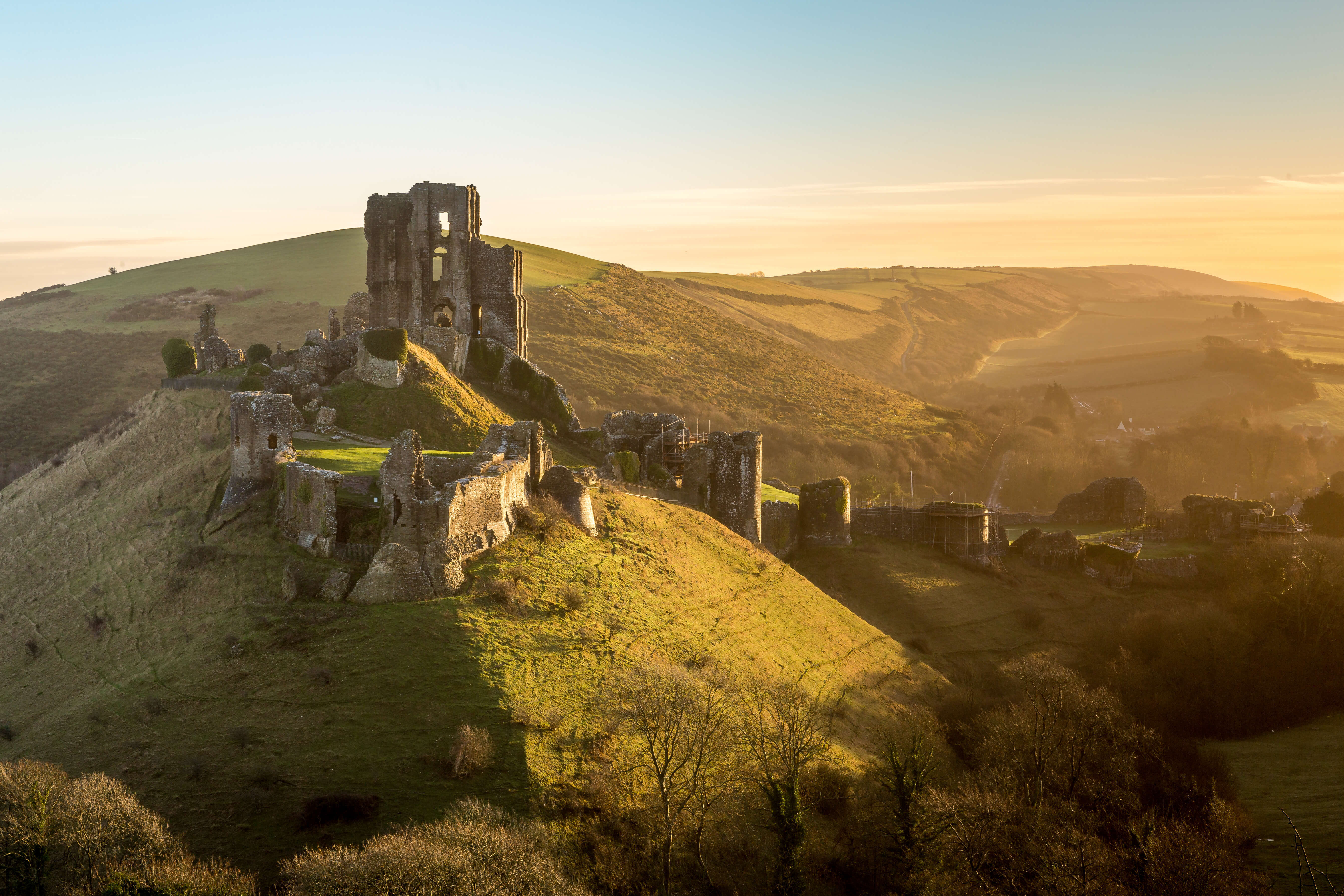 The ruins of Corfe Castle, and its surrounding town, located in Dorset.