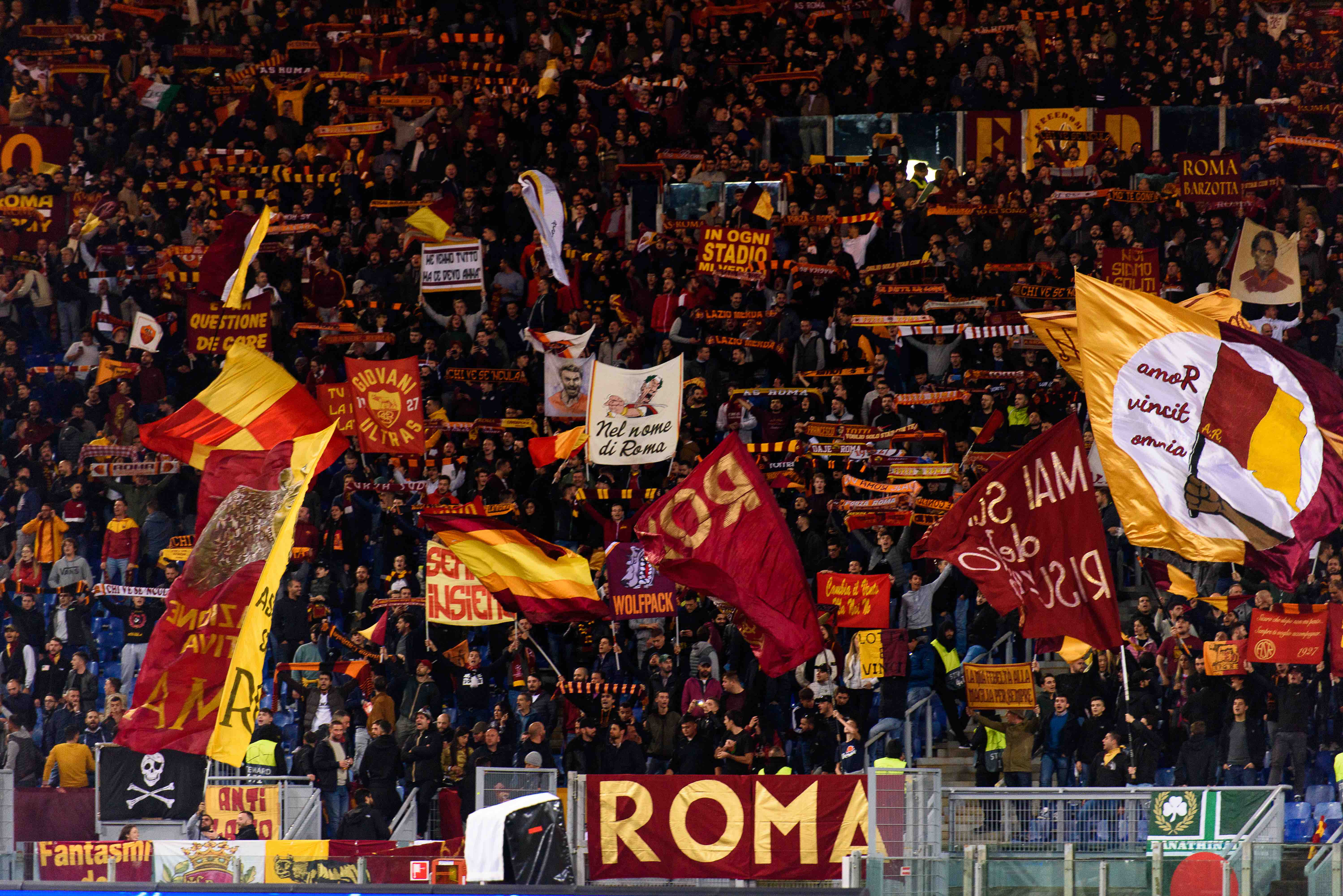 The excited supporters of AS Roma at the Stadio Olimpico in Rome.