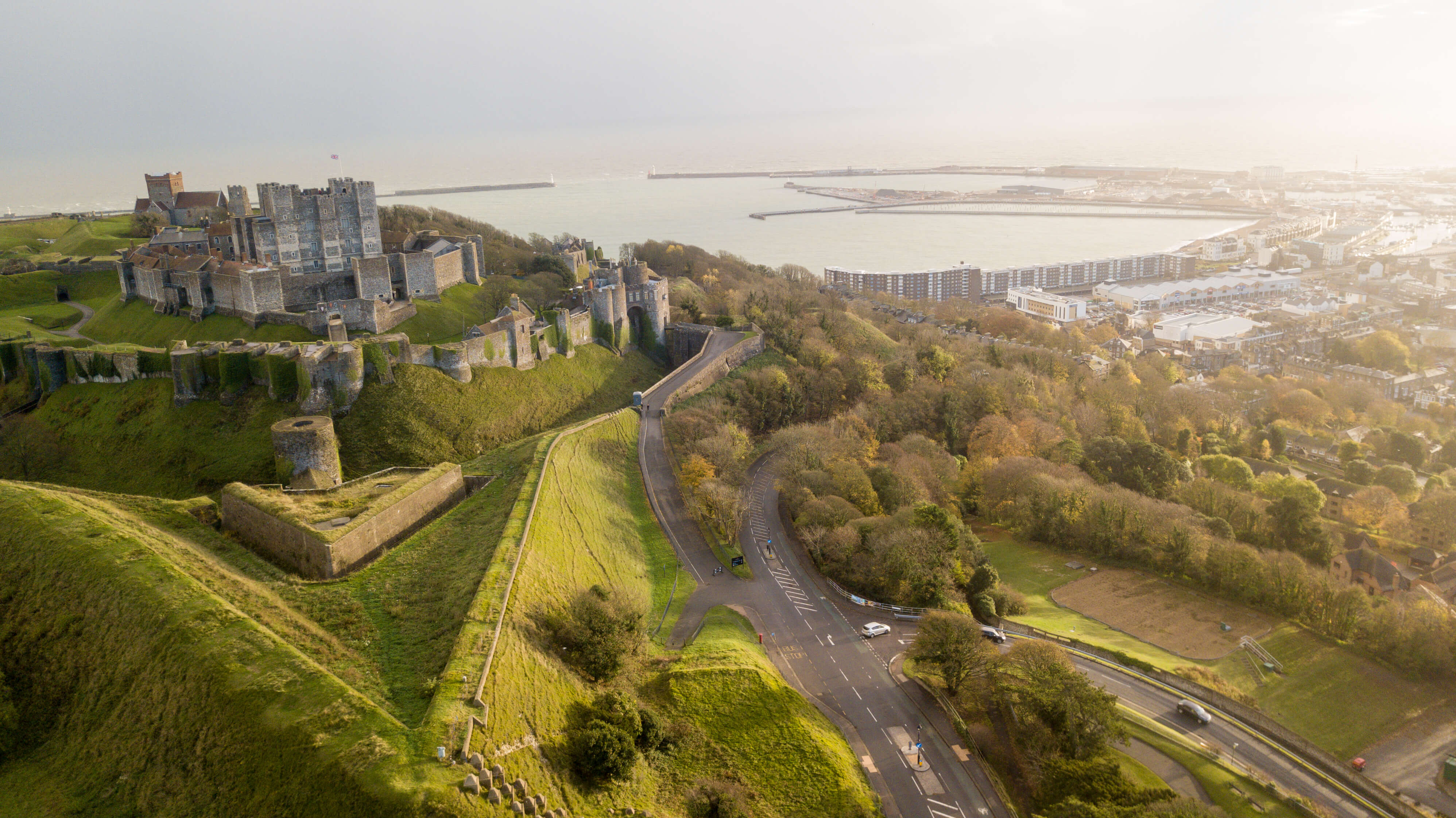 """Dover Castle, often described as the """"Key to England"""", is a medieval castle in Kent."""
