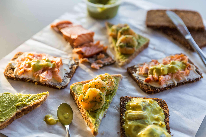 A delicious selection of Smørrebrøds, a traditional Scandinavian open-faced sandwich.