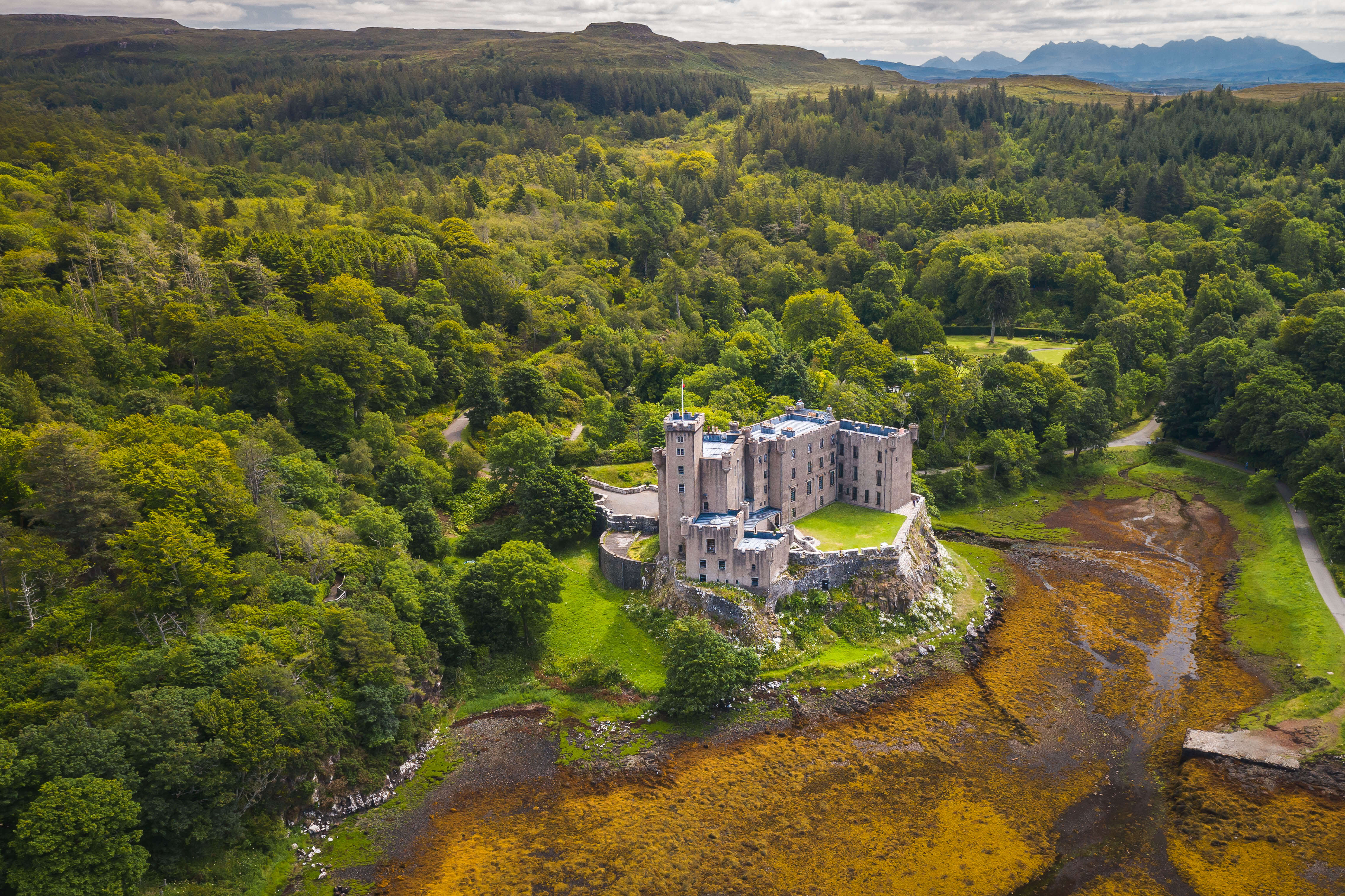 Dunvegan Castle is located 1 mile to the north of Dunvegan on the Isle of Skye.