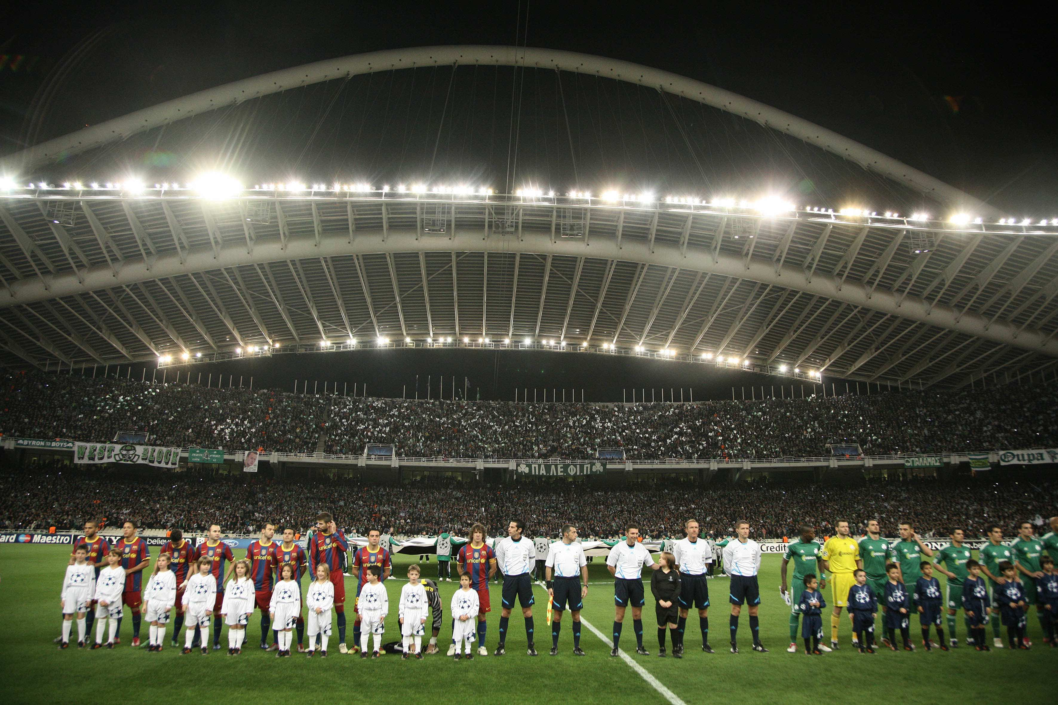 The teams and the fans before the UEFA Champions League group stage match Panathinaikos vs Barcelona in Athens, Greece.