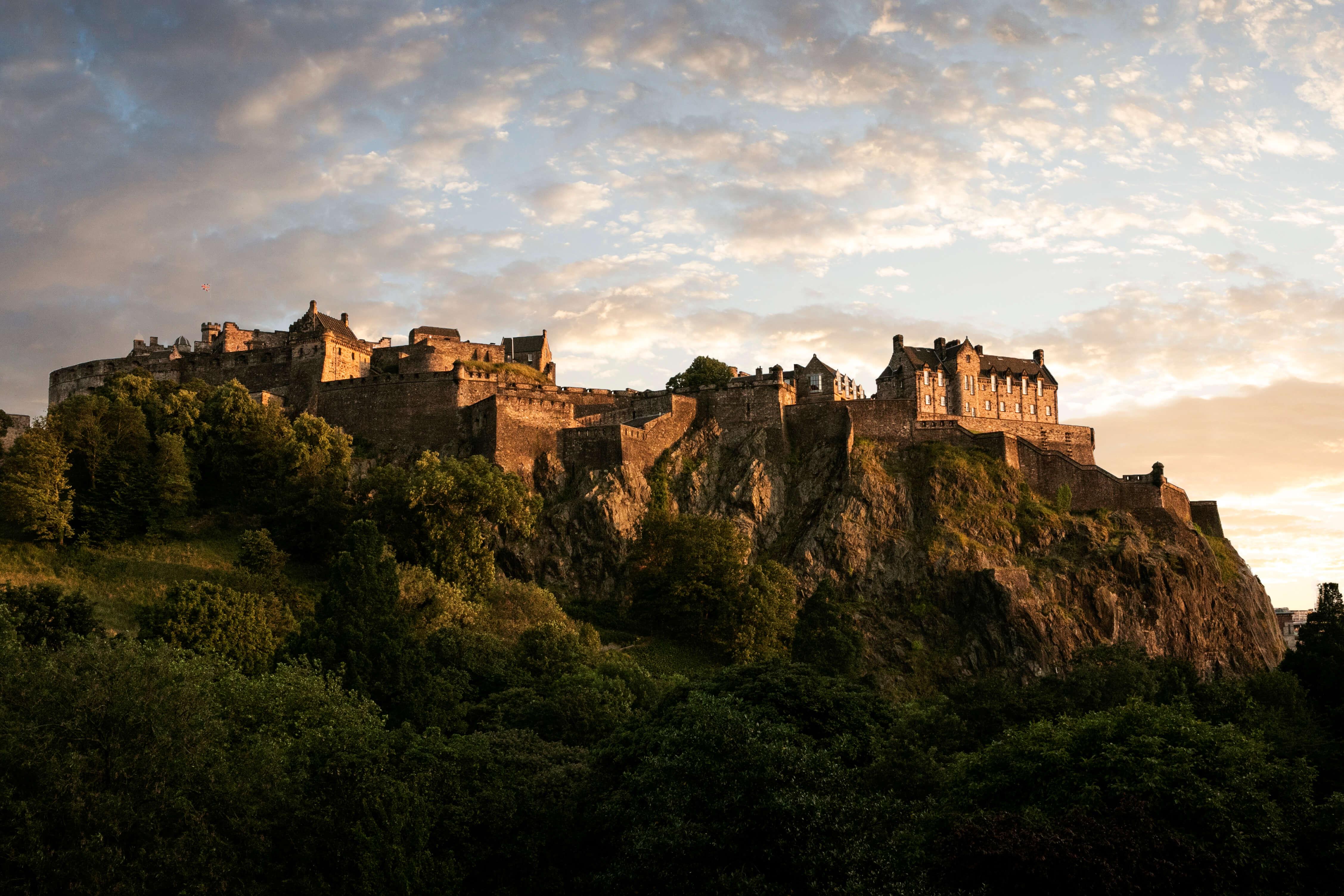 Sunset over Edinburgh Castle, one of Scotland's most iconic sites.