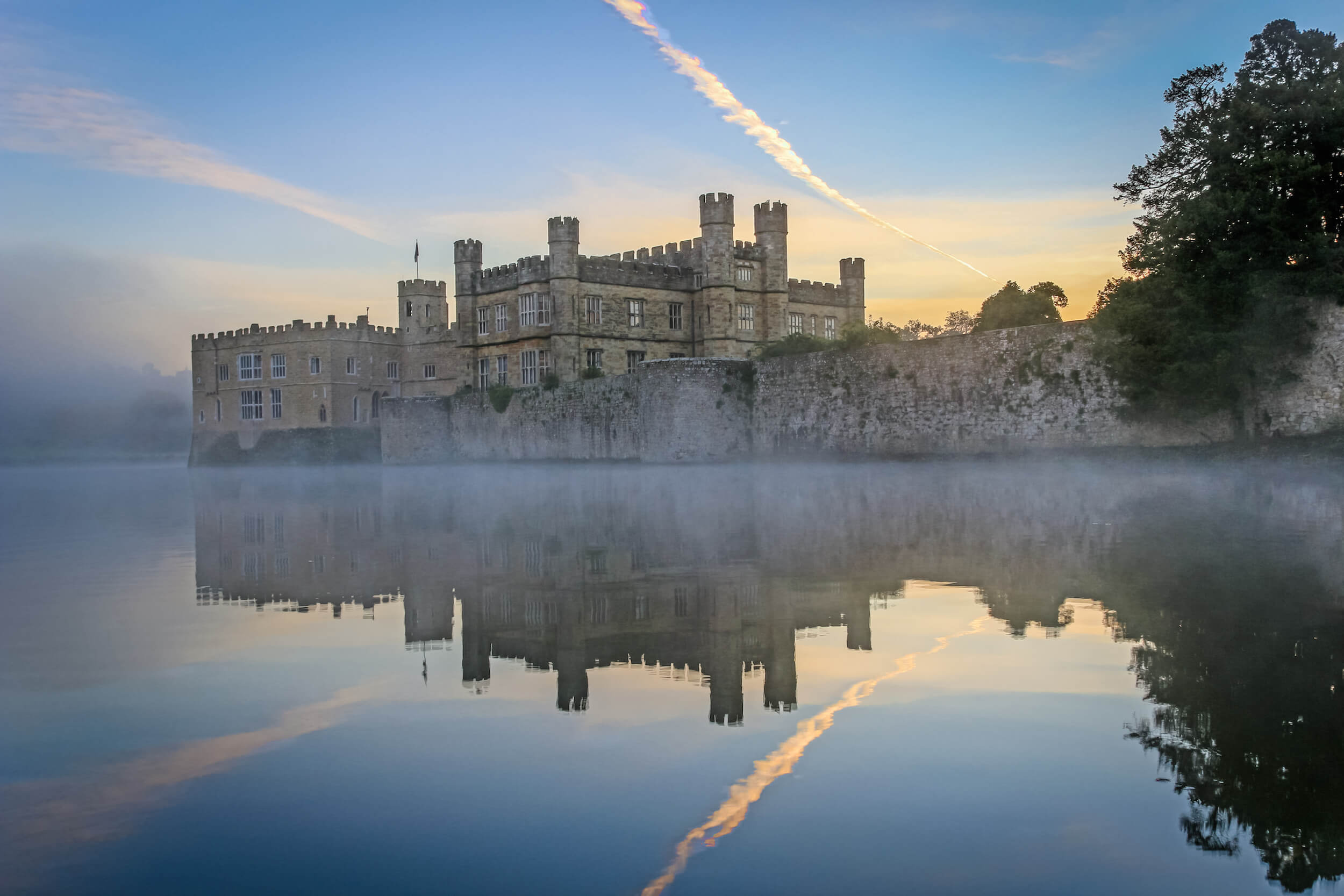 The ever-imposing Leeds Castle on a misty morning.