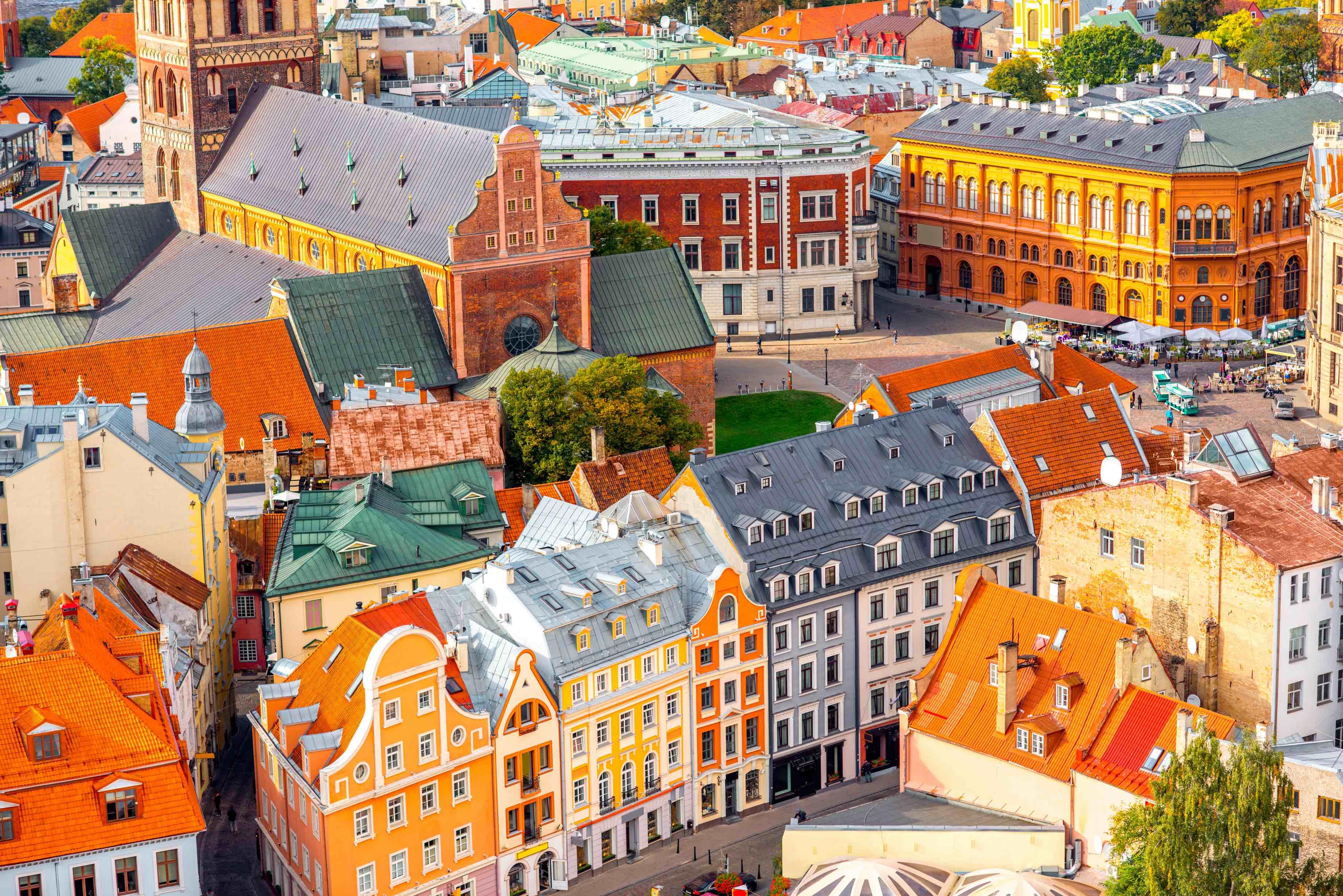 The vibrant streets of Riga, Latvia.