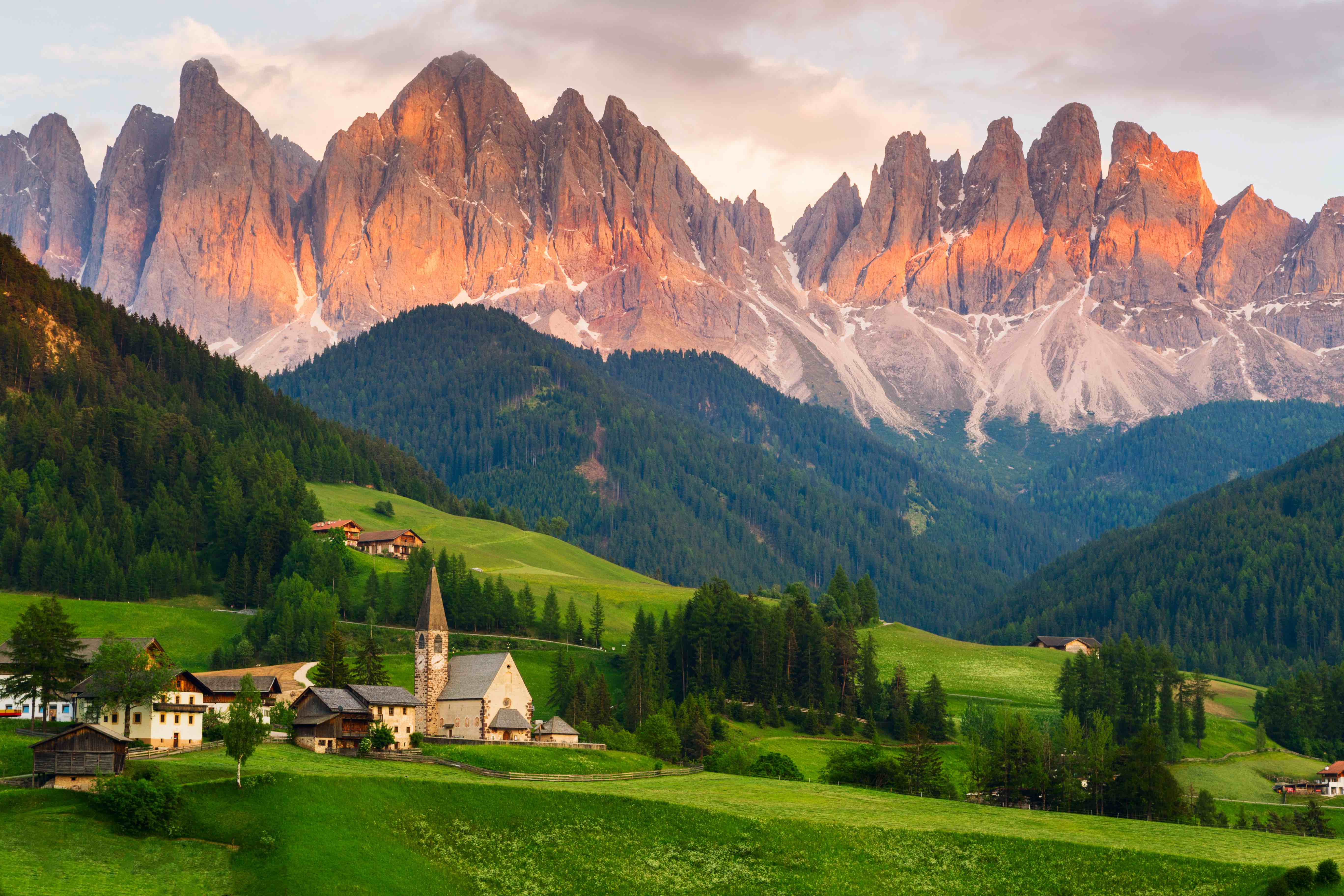 A quaint village at the foot of The Dolomites, Italy.