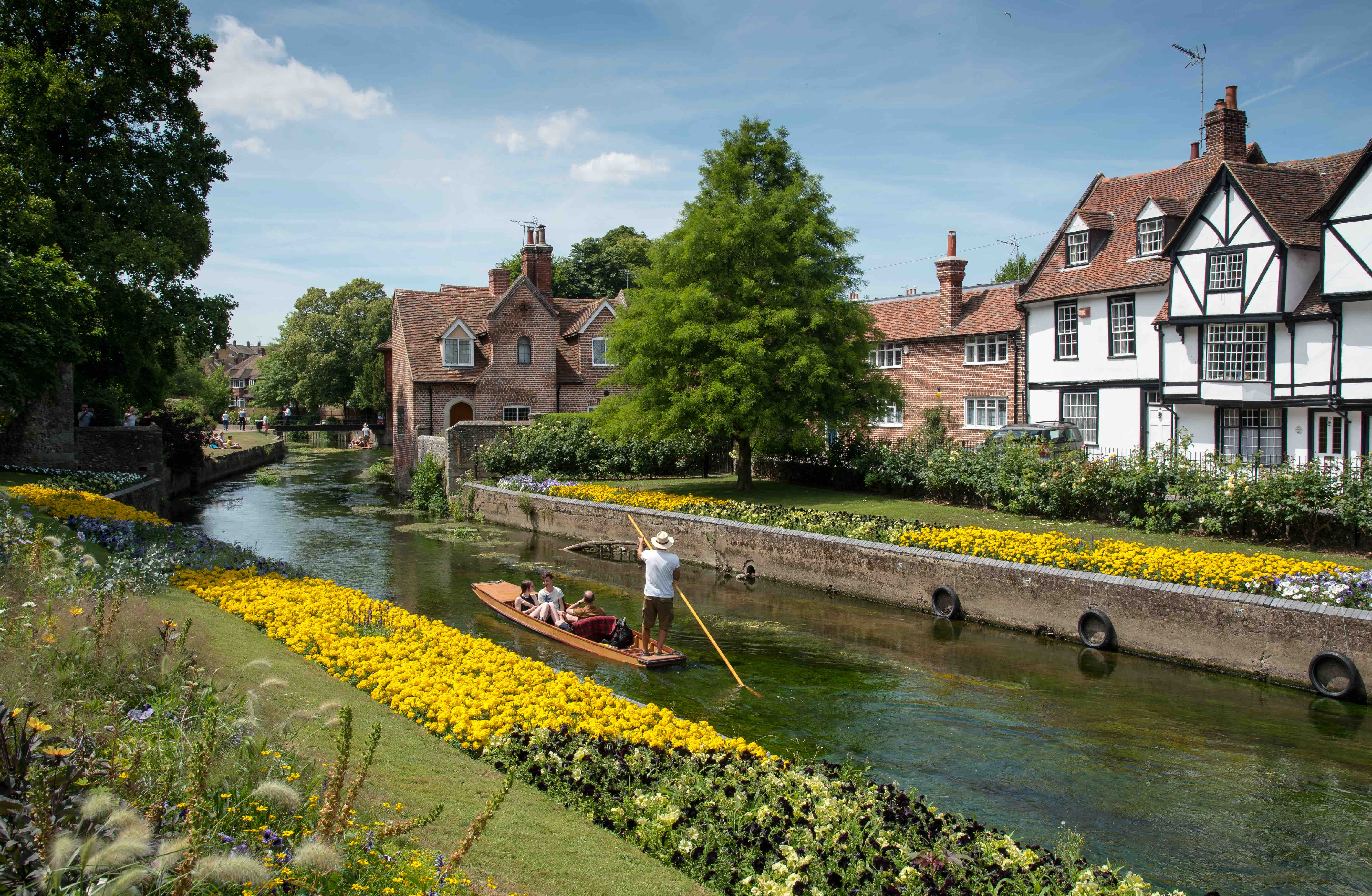 The canal of The River Stour at the beautiful Chartham gardens in Canterbury.