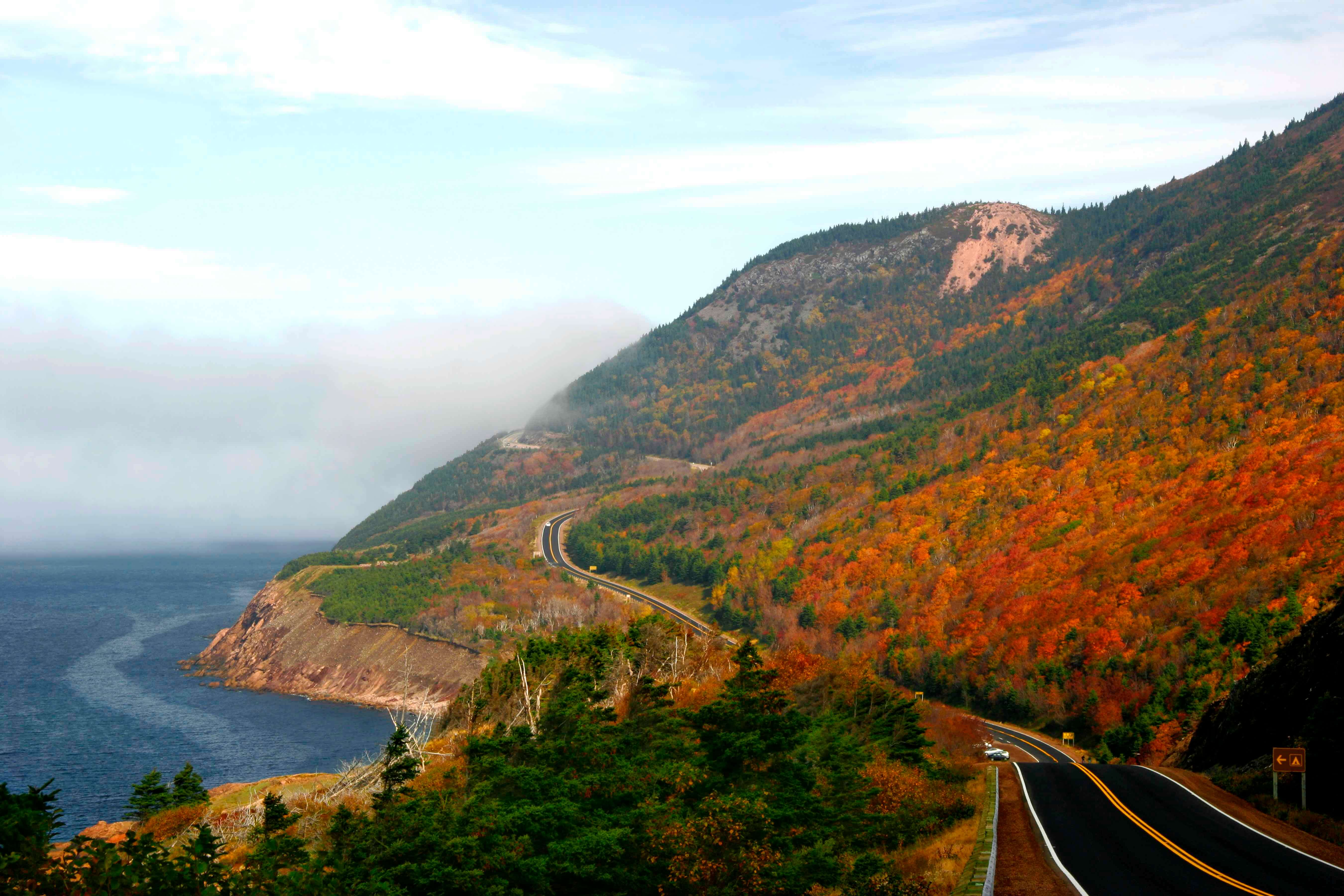 Glorious autumn colours on the winding roads of Cape Breton's Cabot Trail.