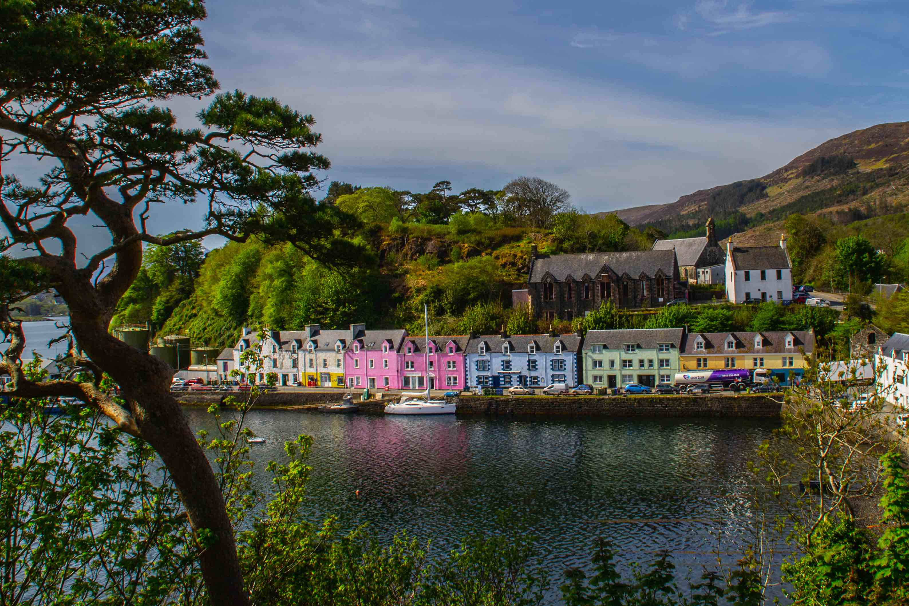 The colourful buildings in the harbour of Portree town on the Isle Of Skye.