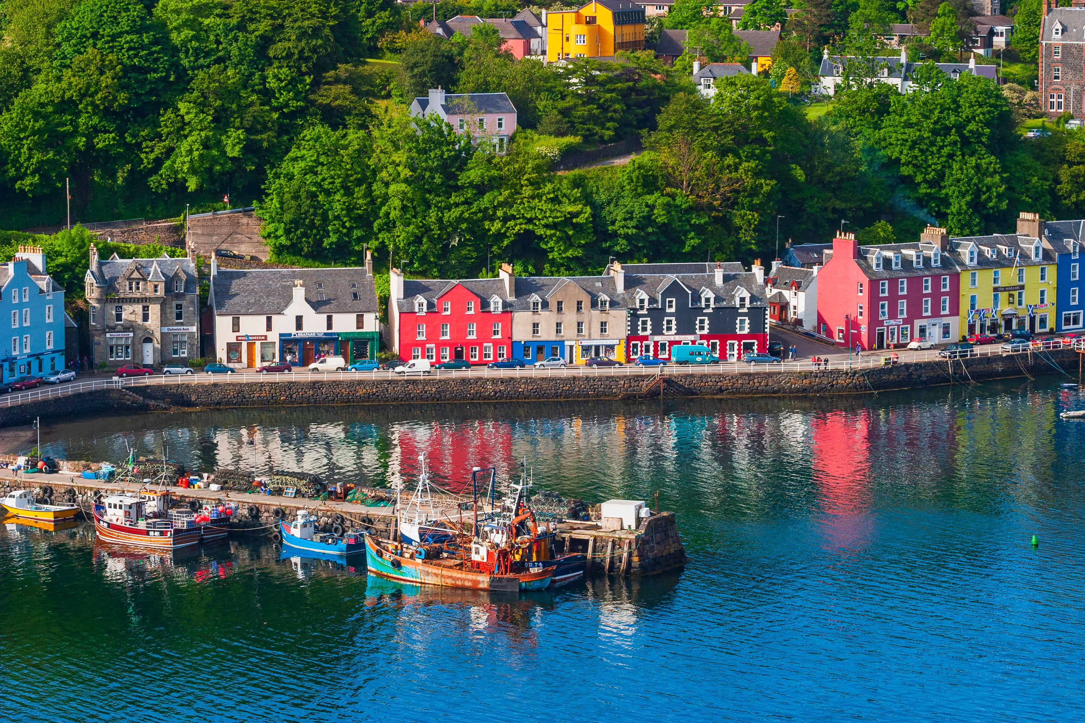 The colourful, charming harbour of Tobermory on the Isle of Mull, Scotland.