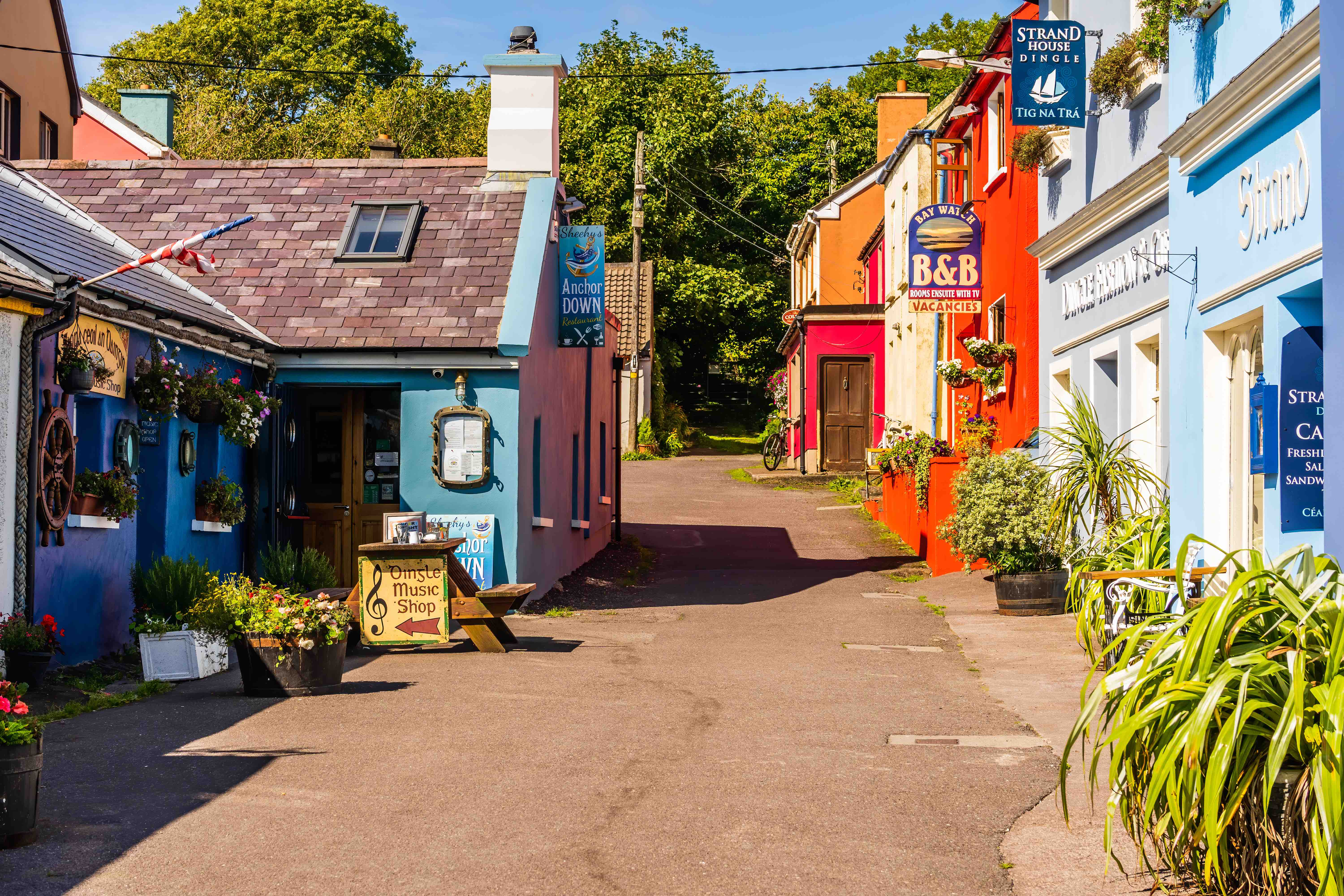 The charming lanes of the coastal town of Dingle in County Kerry, Ireland.