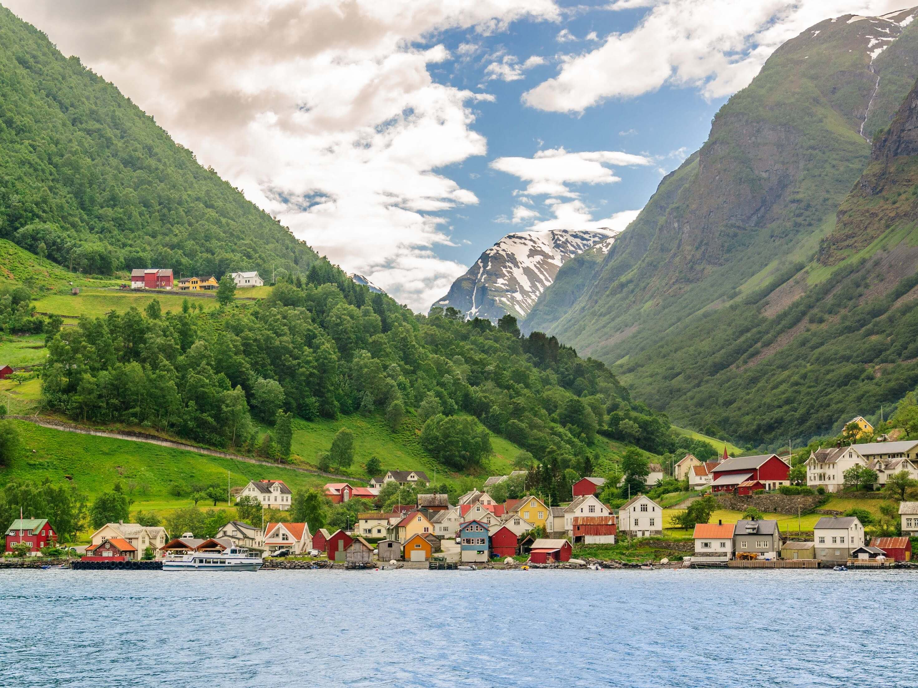 Beautiful, traditional Norwegian houses near the sea in Sognefjord, Norway.