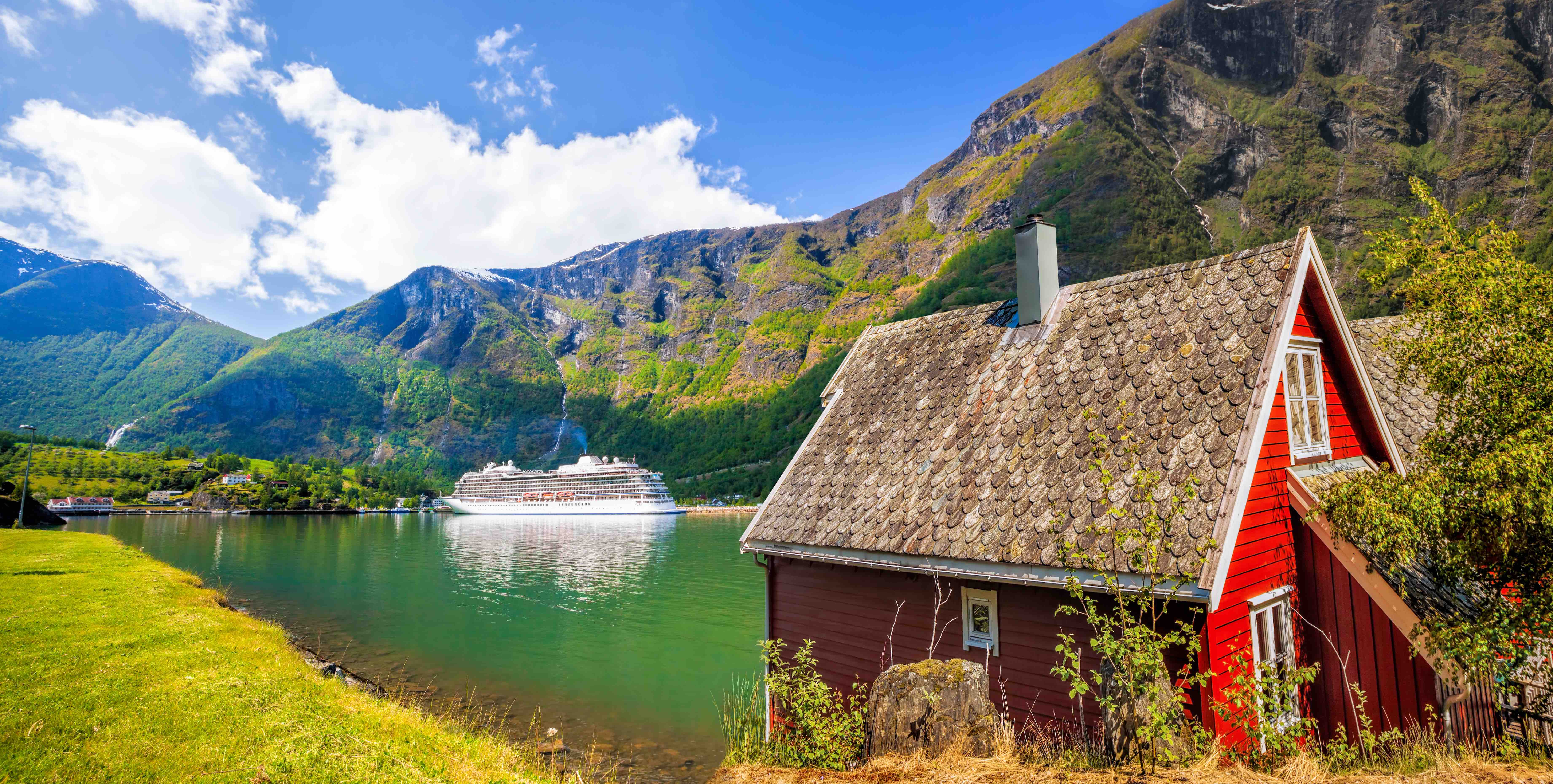 A cruise ship docks in the gorgeous town of Flam, Norway.