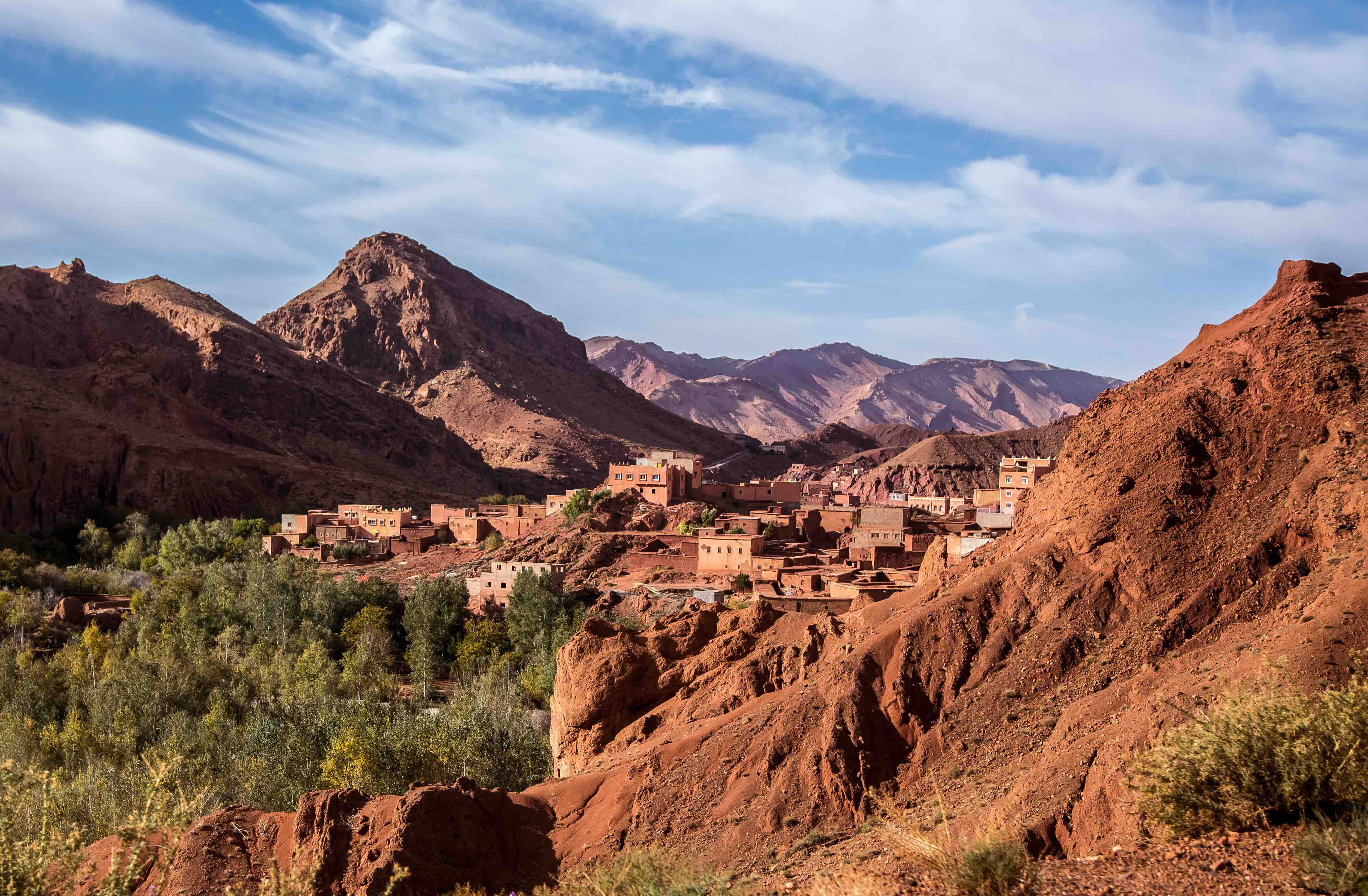 A traditional Moroccan village in the epic Atlas Mountains of Northern Africa.