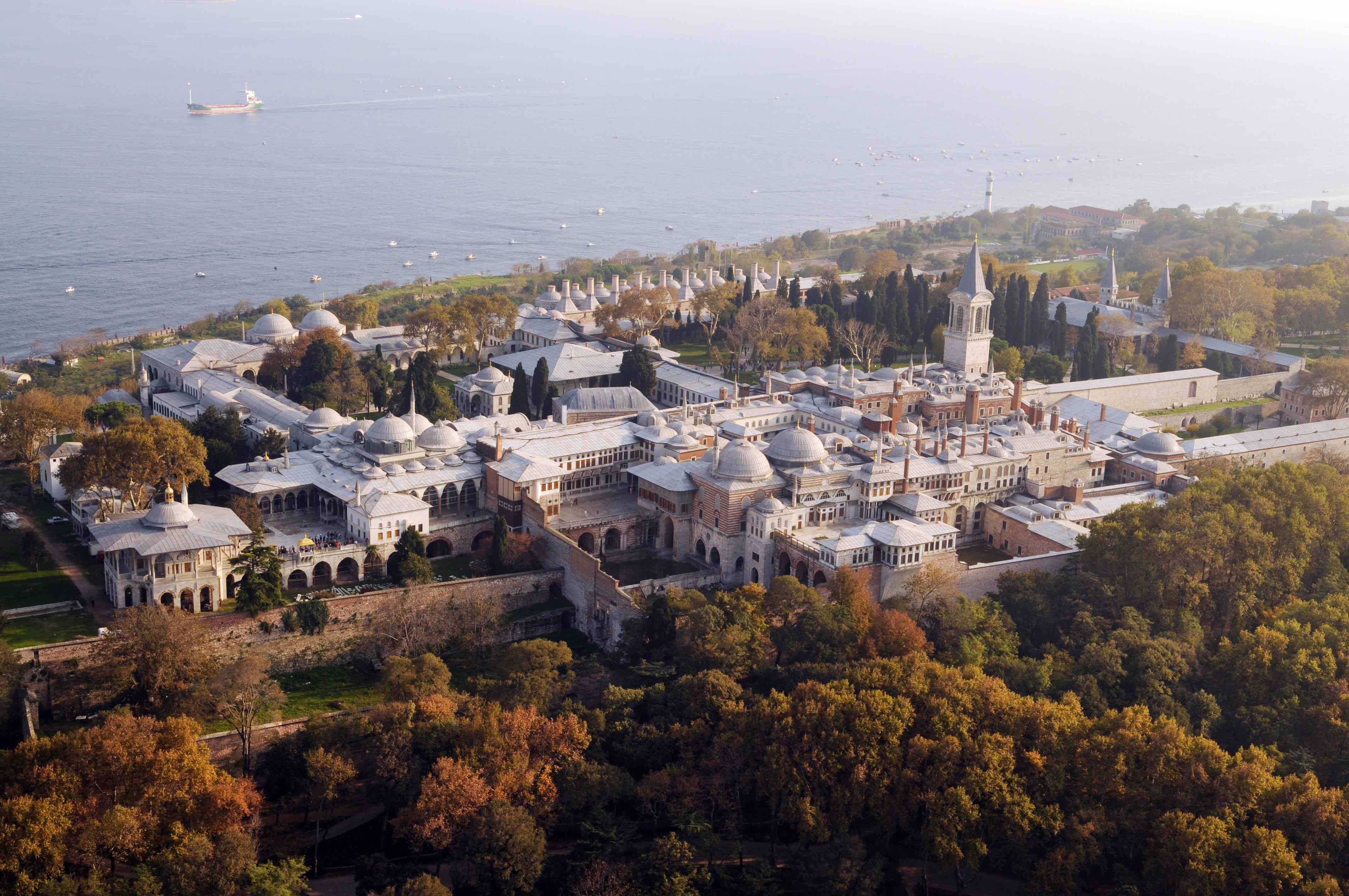 The sprawling Topkapi Palace located on the historical peninsula in Istanbul, Turkey.